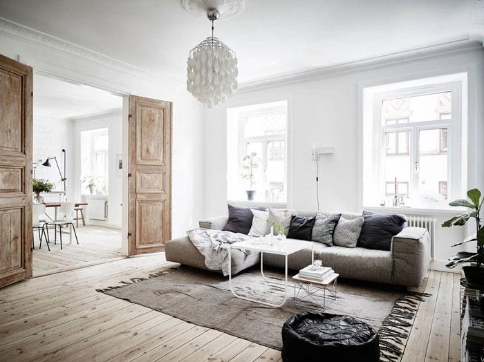 scandinavian interior design, living room decor, white interior, eames table