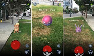 3 screenshots showing pokemon at various physical locations