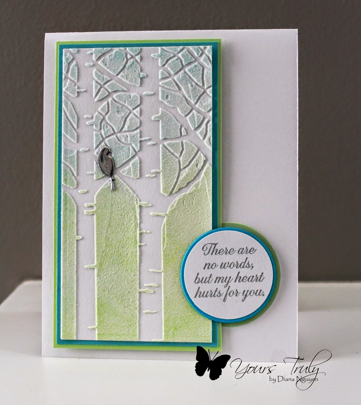 Diana Nguyen, ODBD, No words, sympathy card, Memory Box Garden birch trees stencil, stenciling, nesting birds