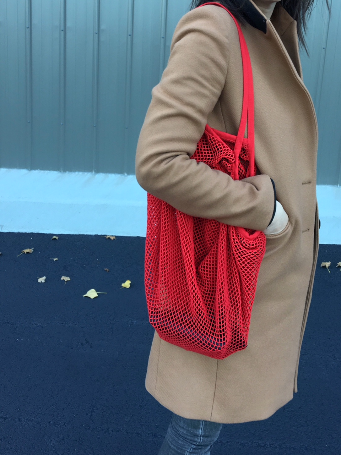 Red net shopper bag