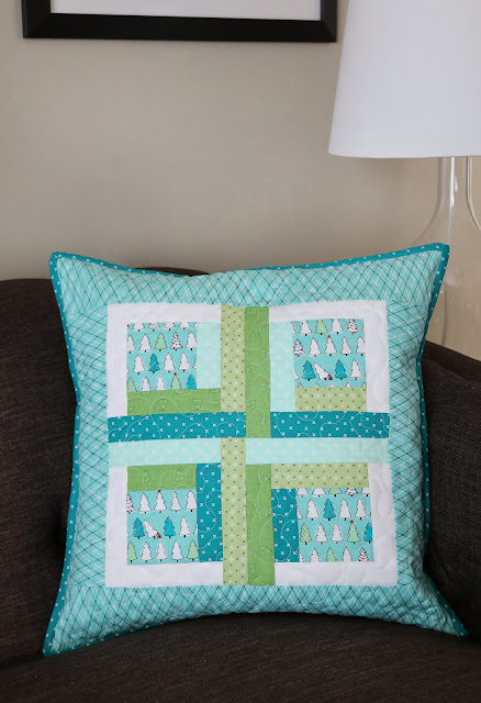 Cabin Cushion - a modern quilted pillow pattern from Andy at A Bright Corner