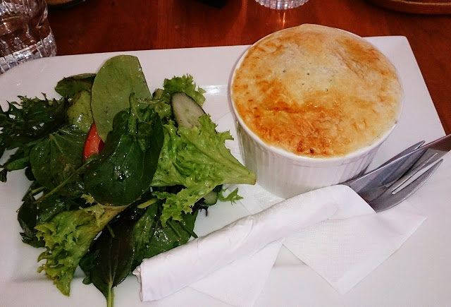 Beef and vegetable pot pie at Tolga Woodworks Cafe