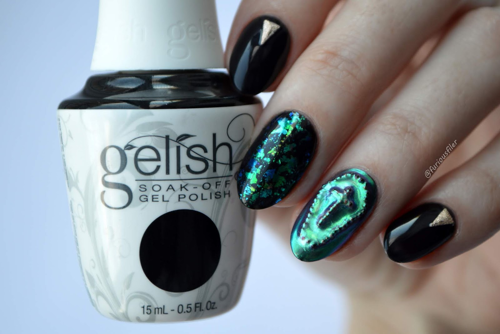 chrome Halloween coffin green nail art furious filer