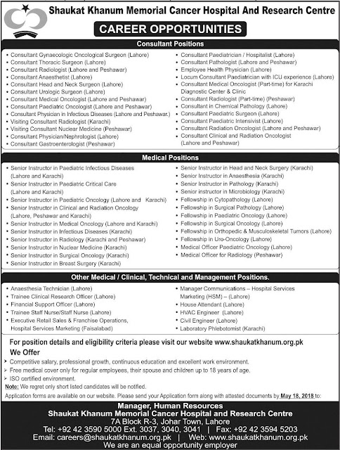 SKMCHR Jobs in Pakistan 2018