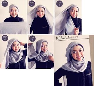 cara memakai hijab segitiga pesta