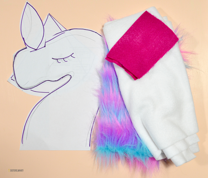 DIY unicorn hobby horse stick supplies
