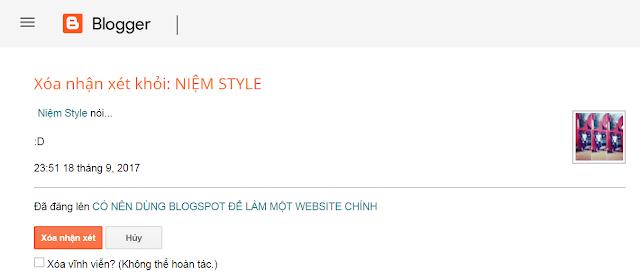 Thủ thuật hiện thị thông báo khi xóa comment blogspot