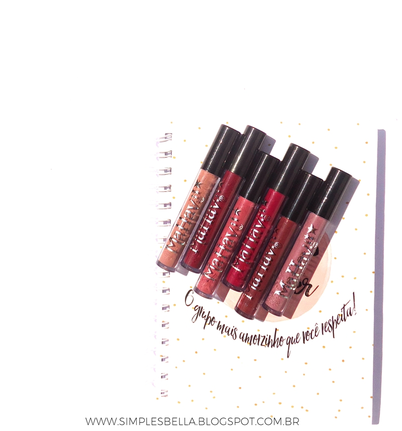Batons líquidos matte da Mahav: bordô, malva, hibisco, capuccino, rosa antigo e carmim.
