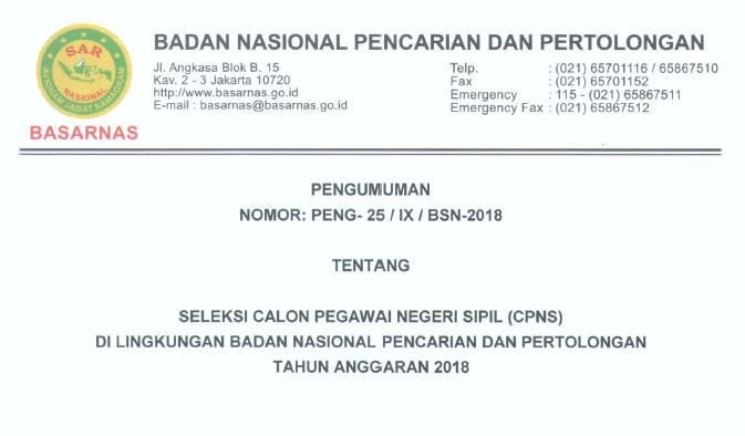 Lowongan Kerja CPNS 2018 BASARNAS