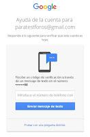 Móvil de recuperación cuenta Google