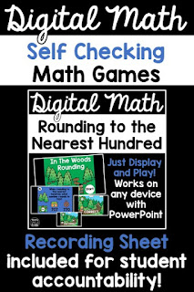 Self checking digital math games! These are a great way to incorporate technology into your math lessons or small group math rotations. They can even be set up as a digital center. They work on any device with PowerPoint. Use them whole group with your projector, or let students play one at a time on devices. The recording sheet is perfect for student accountability.