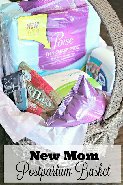 Postpartum care basket ideas, postpartum care, gifts for new moms, poise pads, bladder leakage, bladder leakage pads, bladder leakage protection, bladder leakage control