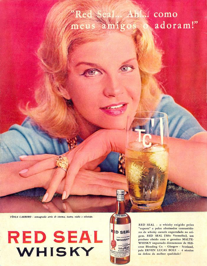 Propaganda antiga com Tônia Carrero veiculada nos anos 60 promovendo o whisky