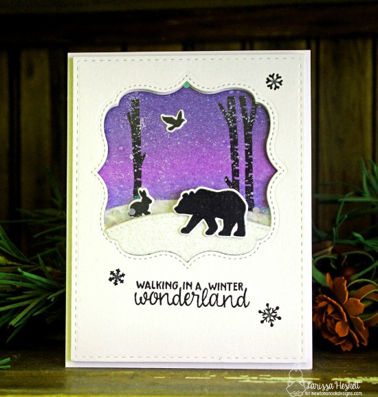Winter shaker card with bear and bunny silhouettes by Larissa Heskett | Serene Silhouettes stamp set by Newton's Nook Designs #newtonsnook