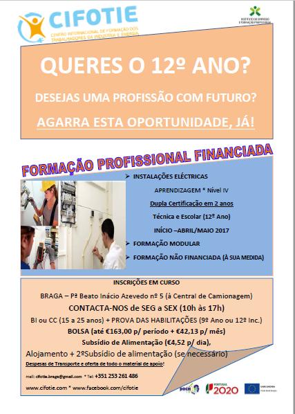 Curso de aprendizagem de Técnico de Instalações Eléctricas em Braga (para tirar o 12º ano)