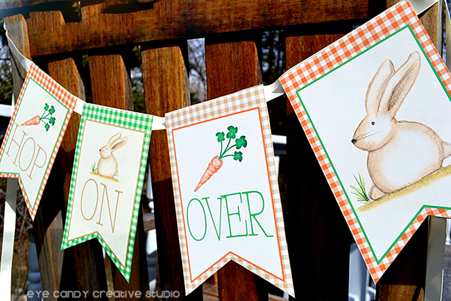 hop on over banner, bunny banner, easter banner, carrot & bunny