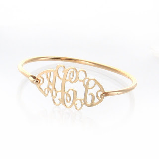 gold filigree monogram bangle bracelet