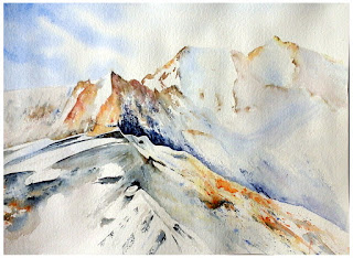 aquarelles JP Wisniewski aquarelle de montagne watercolor painting of mountain