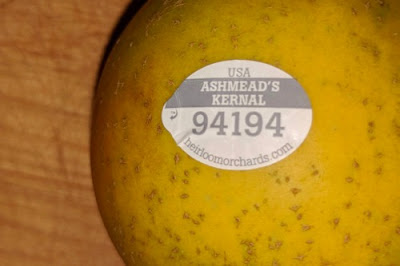 Fruit sticker reading :Ashmead's Kernal 94194""