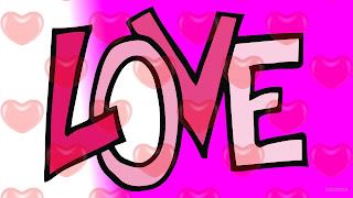 Roze love wallpaper met tekst en hartjes.