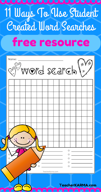FREE Word Search Templates * Student Created * Perfect for Spelling Center * TeacherKarma.com
