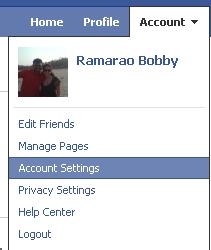 Facebook Account >> Account Settings