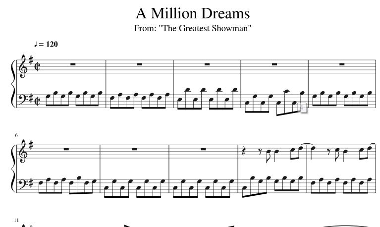 Piano Sheet Music A Million Dreams Piano Sheet Music Free Download Pdf