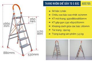 Thang nhôm ghế bản lớn 5 bậc Advindeq ADS 705