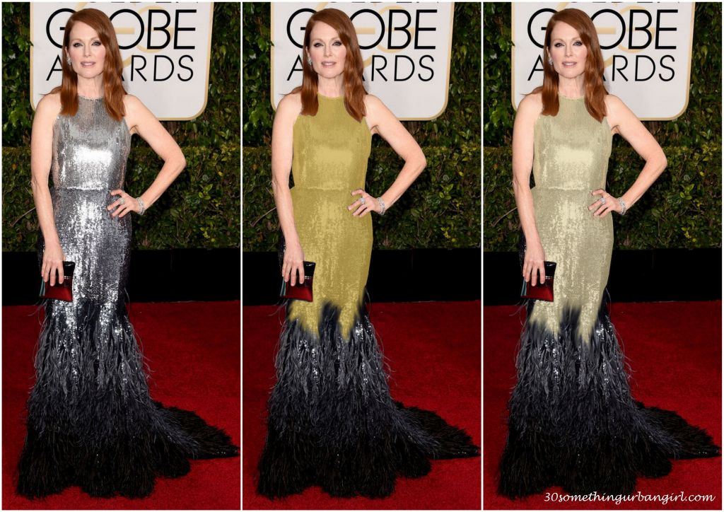 Julianne Moore's Golden Globe 2015 Givenchy dress in different colors