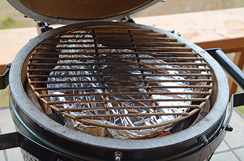 kamado indirect set up, BGE indirect,