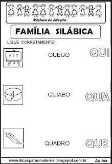 Famílias silábicas alfabetização letra Q