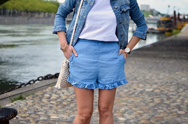 Look blanc et bleu tendance
