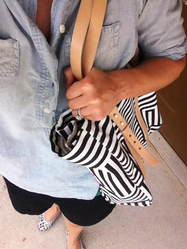 striped bag