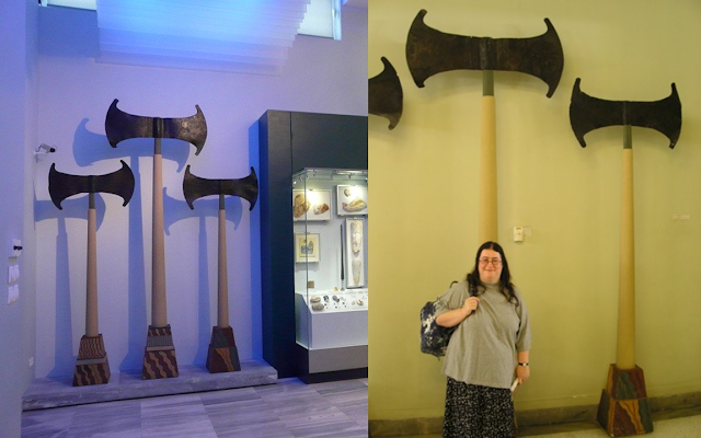giant double axes in Herakleion Archaeological Museum