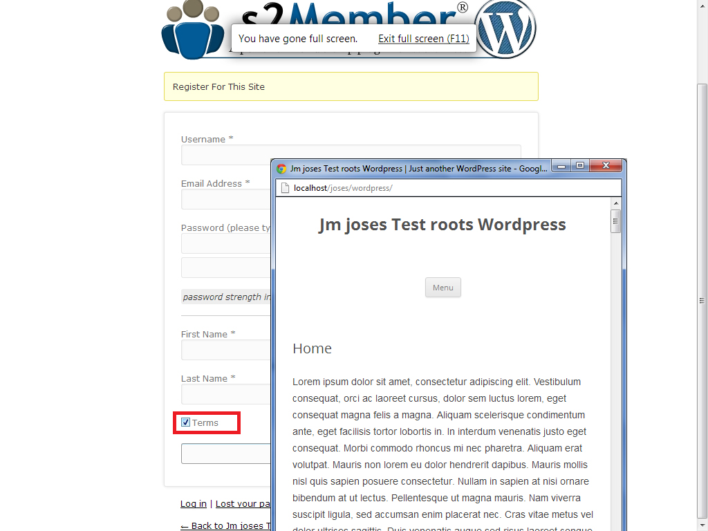 wordpress s2members plugin with Terms and conditions