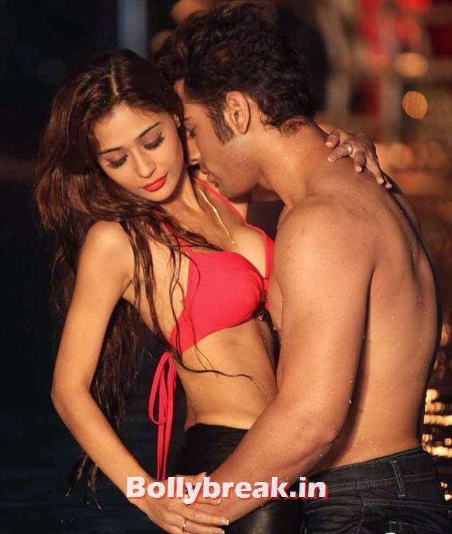 Sara Khan in red bikini in movie Midsummer Midnight Mumbai,  Sara Khan Bikini & kissing Pics - Midsummer Midnight Mumbai Movie