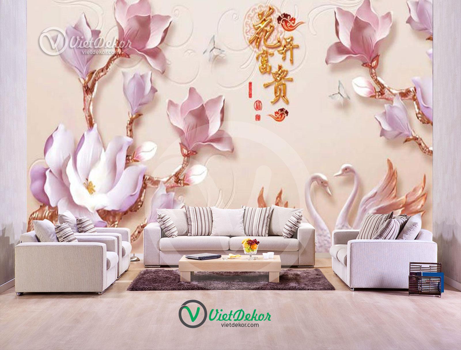 Tranh 3d dán tường hoa phong lan thiên nga