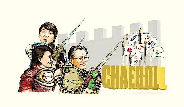 Chaebol là danh từ chỉ các tập đoàn kinh tế tư nhân lớn của Hàn Quốc như Hyundai, Samsung, LG, Daewoo, Lotte, SK,...