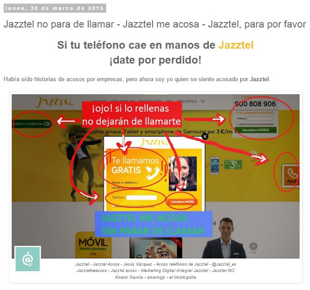 Jazztel no para de llamar - Jazztel me acosa - Jazztel para por favor - Lo + leído en el troblogdita - marzo 2016 - Álvaro García - ÁlvaroGP - el troblogdita - el fancine - el gastrónomo - @repaci31