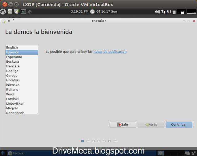 DriveMeca instalando LXLE paso a paso
