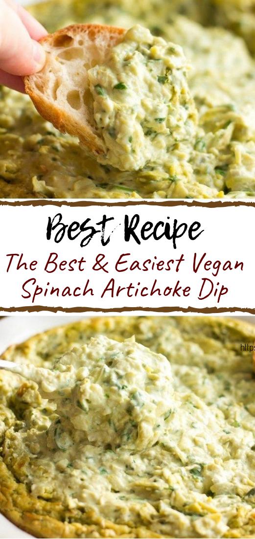 The Best & Easiest Vegan Spinach Artichoke Dip #healthyfood #dietketo