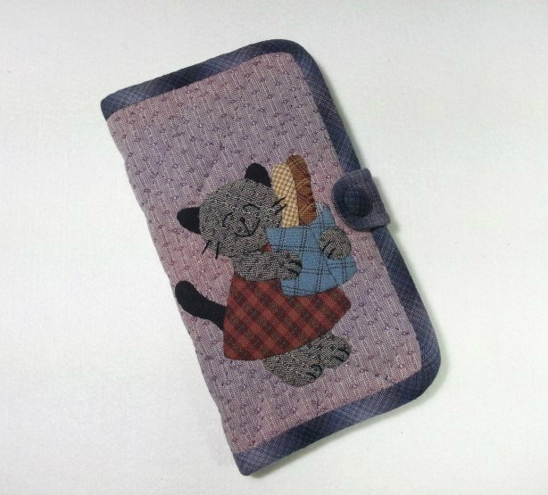 How to make tutorial mobile phone bag case purse fabric sewing quilting patchwork applique.