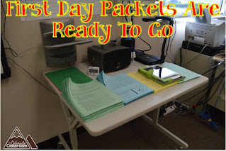 First day packets are ready to go home before the students get there.
