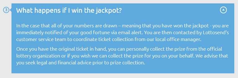What happens when you win the jackpot with Lottosend: https://www.lottosend.com/faq/