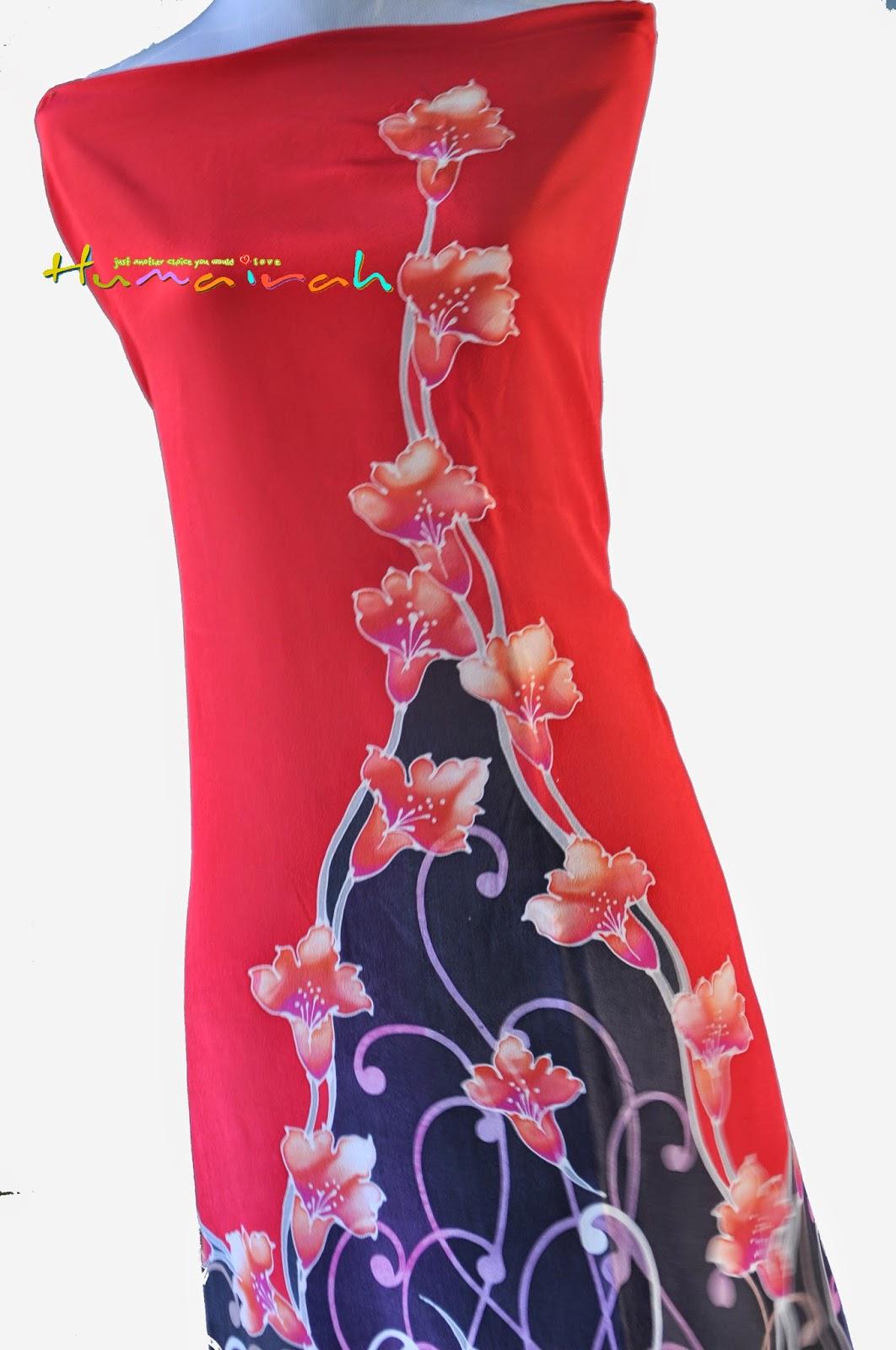 CX80 Batik Sutera Exclusive - Bunga Menaik Merah dan Hitam 4