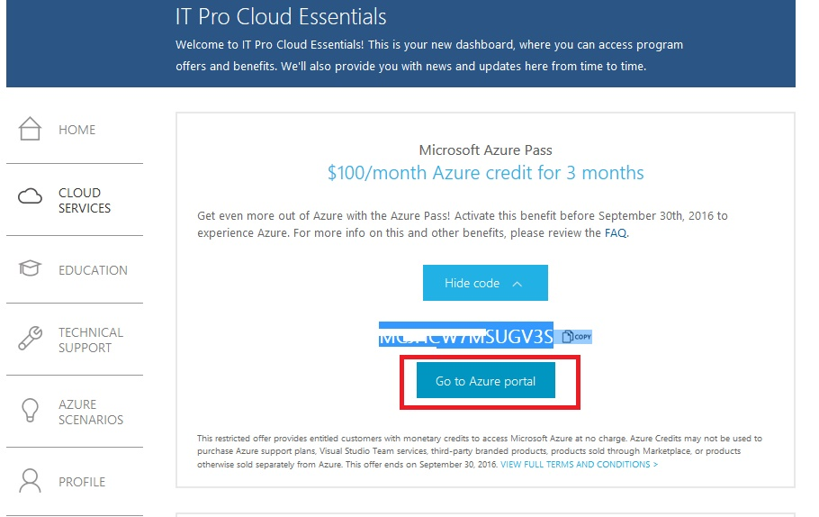 Coupon VPS Azure