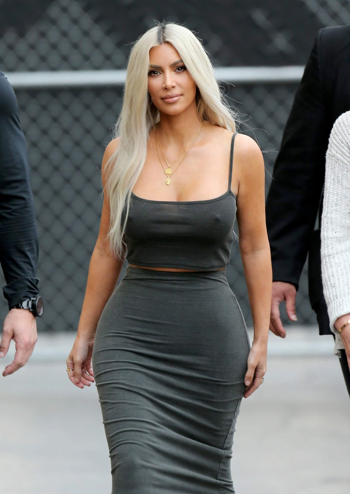 Kim Kardashian goes braless for Jimmy Kimmel Live