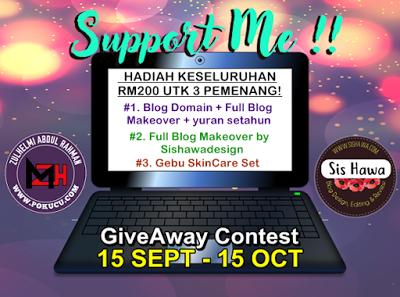 Contest, Giveaway, Hadiah, Free Domain, Full Blog Makeover, Blog, Blogger, Peserta, Pemenang Bertuah,