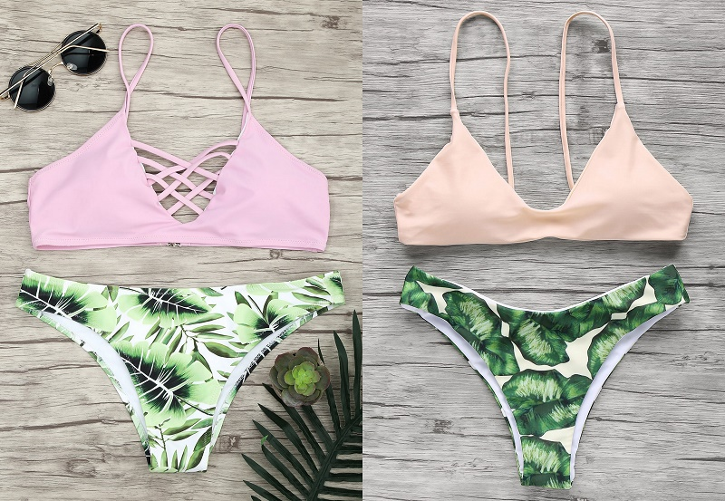 Tropical print swimsuit bikini set
