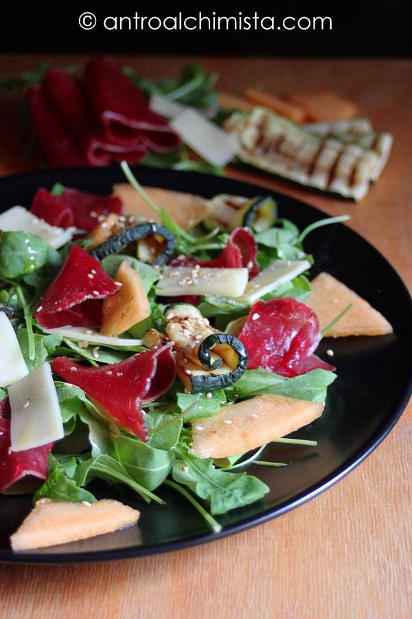 Carpaccio di Bresaola con Rucola, Zucchine e Melone